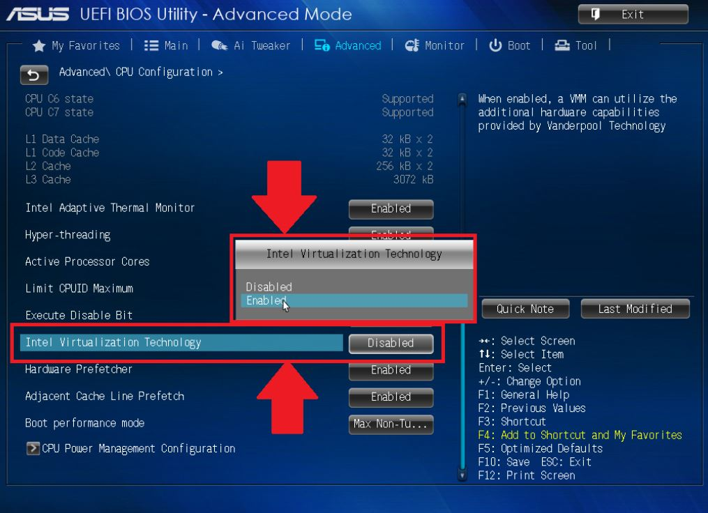 Turning on the Bluestacks Virtualization