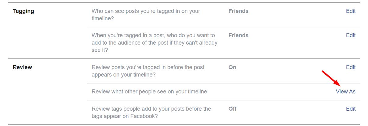 View Facebook Profile Directly From Privacy Shortcuts